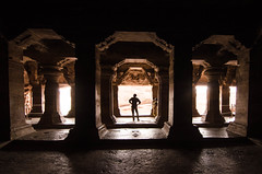 Cave temple, Badami (Anna Toft) Tags: cave temple india travel brown decay history rocks outside old orange hampi badami silhuette ancient