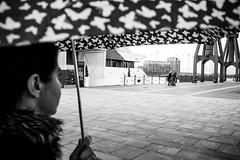 Rainy (lorenzoviolone) Tags: agfascala200 bw blackwhite blackandwhite finepix fujix100s fujifilm fujifilmx100s monochrome umbrella vsco vscofilm x100s mirrorless raining streetphoto streetphotobw streetphotography travel:uk=londonapr16 yachthotel fav10