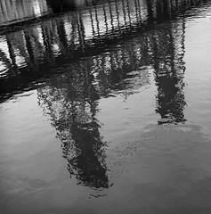 Steel Bridge, Portland (austin granger) Tags: steelbridge portland willametteriver reflection waterfront oregon square film gf670