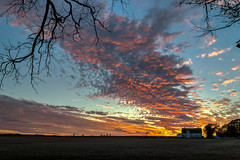 Lighting Up the Clouds (tquist24) Tags: goshen hdr indiana nikon nikond5300 barn blue clouds fall farm field orange rural sky sunset tree trees