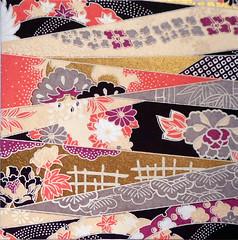 Kyoto yuzen washi 6 (tengds) Tags: handmadepaper japanesepaper yuzenwashi kyotoyuzen washi chiyogami flowers lattice fence red gray purple coralpink black brown cream tengds