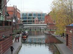 View from Broad Street (bryanilona) Tags: canal towpath citycentrepath birmingham sealifecentre narrowboat bridges