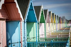 Beach Hut Candy (ScopiePhotography) Tags: baby colour pink blue yellow green mersea colours pretty love huts beach roofs design building structure outside sky