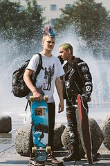 Punk Skaters (collaredinboots1) Tags: sneakers skinhead boots booted studs leather leatherjacket skater mohawk hawk