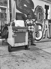 (dylanmicelinelson) Tags: nyc blackandwhite man fruitstand fruitman