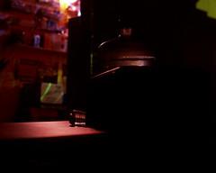 Water Bottles with Negative Space (Baisao) Tags: nightphotography slr film mediumformat 6x7 provia100f nightshooting nocturn 297 colortransparency nometer mamiyarz67proii 110mmf28mamiyasekorzw exchangeablebacks