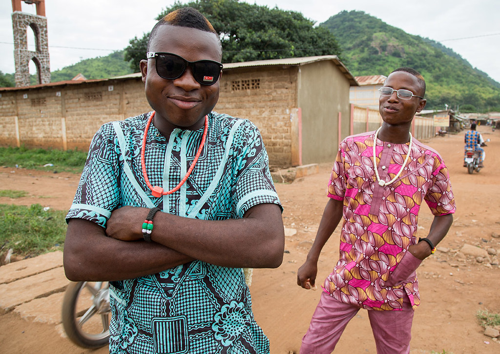 Benin West Africa Savalou Young Fashionable Men In The Street Eric Lafforgue
