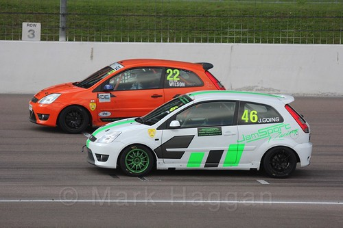 Jamie Going and Ian Wilson in Fiesta Racing at Rockingham, Sept 2015