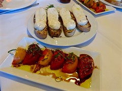 fresh mozzarella at Tra Vigne St Helena CA (Fuzzy Traveler) Tags: restaurant wine tomatoes napa sthelena mozzarella bruschetta travigne heirloomtomato
