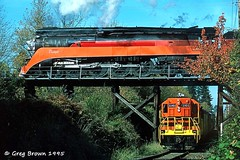 A Two for One at Tualatin (C.P. Kirkie) Tags: oregon portland bn sp tualatin oe southernpacific burlingtonnorthern sp4449 sd9 oregonelectric southernpacificdaylight portlandwestern spdaylight