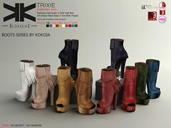 Trixie :: Ankle Boots :: 10 Colors ({kokoia}) Tags: eve woman high shoes mesh boots platform sl heels heel ankle trixie booties tmp maitreya slink secondlfie kokoia themeshproject