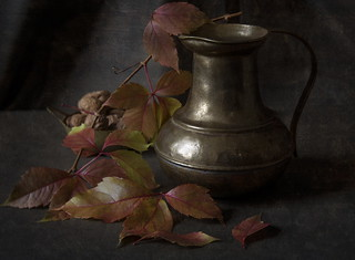 Still Life with Autumn Leaves and Pitcher