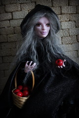 A Queen in Peddler's Clothing (tuneful87) Tags: red white snow monster grey high queen wig mohair apples poison peddle hag