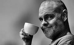 Something to smile about ! (CJS*64) Tags: morning portrait people bw selfportrait me cup coffee monochrome smile fun mono blackwhite nikon drink drinking nikkor dslr cheesy refreshments saturdaymorning laught whiteblack nikkorlens selfi saturaday d7000 nikond7000
