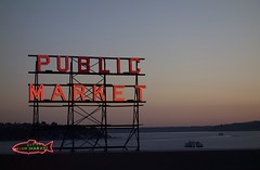 Public Market (Sean Munson) Tags: seattle sunset water sign ferry washington dusk sound pugetsound pikeplacemarket pikeplace fishmarket publicmarket washingtonstateferries