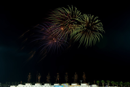 HUA HIN ,THAILAND - Jan1,2016 : Firework celebrate  new year at the statues of Seven king of thailand monument , huahin , thailand