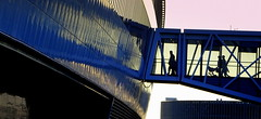 Exodus (EOS1DsIII) Tags: bridge blue people silhouette metal architecture germany deutschland airport frankfurt brcke fra squaire eos1dsiii bestcapturesaoi elitegalleryaoi