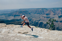 Canyon Jump (Kobe Caf) Tags: grand canyon national park nationalgeographic warm views pink adidas nmd r1 film kodak fujifilm 100 jump shot shoes hat world vintage vacation arizona majestic skyline human usa outdoors day casual canon superia special nikes