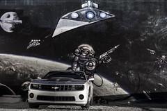 Intergalactic Journey (Ben Zavala) Tags: 2016 bandofskulls benzavala dallas liveband livemusic sonya7 texas trees tx chevy camaro space death star deathstar spaceship austronauts blackandwhite stars planets