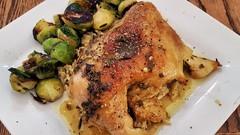Mmm... mojo chicken (jeffreyw) Tags: mojomarinade wildrice sauteedbrusselssprouts chicken citrus oregano cumin garlic oliveoil