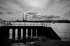 (Ails N hgeartaigh) Tags: dublin ireland europe blackandwhite bw noir blanc monochrome mono sea seascape sky clouds cloudy bike bridges bridge water world earth 2016 sony a7 zeiss za
