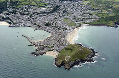 St Ives aerial image (John D F) Tags: stives saintives coast cornwall aerial aerialphotography aerialimage aerialphotograph aerialimagesuk aerialview droneview porthmeorbeach porthminsterbeach porthgwidden harbour