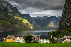 Undredal (Ornaim) Tags: undredal fjord norway landscape nature stave church small village town house filed water sea mountain cloud sunrays impressive travel summer vacation aurland aurlandsfjorden nikon d610 1635 lee filter gnd 03 grad hard