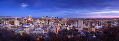 Montreal Downtown (Bluesky251) Tags: sunset downtown home montreal quebec canada beautiful building cityscape moon dark night winter