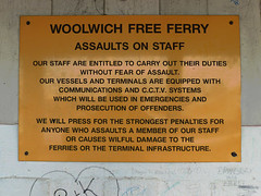 Assaults on Staff (Kombizz) Tags: 1120428 kombizz london 2015 thamesbarrier movablefloodbarrier riverthames floodplain hightides isleofdogs silvertown londonboroughofnewham rogerwalters woolwichfreeferry signpost cctv assaultsonstaff vessels terminals communications prosecutionofoffenders penalties bk