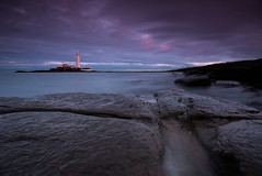 Down at StMary's (Michael Halliday) Tags: clouds coast hitech lighthouse nikkor2470f28ged nikon nikond600 northumberland northumbria rocks sea seascape sky stmarysisland stmaryslighthouse sunset water