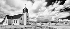Iglesia de San Juan Bautista - La Garita, CO (smithat) Tags: church clouds ir catholic sanluisvalley infrared topazbweffects