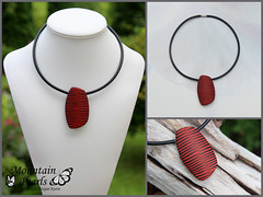Polymer clay necklace, Mountain Pearls by Nataša Hozjan Kutin (mountain.pearls) Tags: red mountain necklace jewelry pearls fimo clay sculpey pendant kato polymer premo kutin polyclay nataša nakit ogrlica rdeča obesek hozjan