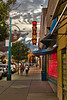 KiMo Theater and Alibi Newspaper Sidewalk (Vironevaeh) Tags: city sunset sky urban newmexico us route66 downtown unitedstates albuquerque sidewalk abq photomerge kimo hdr highdynamicrange alibi centralavenue kimotheater alibinewspaper