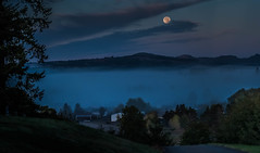 Cemetery View (Jason _Ogden) Tags: pink blue moon fog clouds landscape dawn nikon purple harvestmoon bloodmoon vr18200mm cemeteryview nikond90 supermoon
