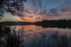 Sunset in Frysln (m0nt2) Tags: sunset sky orange lake tree nature water fire landscapes colorful outdoor thenetherlands language friesland province frysln elfstedentocht frisia wyldemerk westfrisian