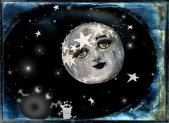 BY THE LIGHT OF THE SILVERY MOON , I'LL BE WATCHING YOU ~ MOVIE NIGHT IN OUTER SPACE (Cabinet of Old Secret Loves) Tags: old blue original moon white cinema black art film window illustration night silver painting movie stars design graphic theatre cabinet annabelle space secret alien screen galaxy hollywood donut doughnut popcorn classics loves outer silvery et starry rocketship extraterrestrial silverscreen starrynight of society6