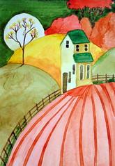 Landscape with litlle house, by Marisa - DSC01423 (Dona Mincia) Tags: house tree art illustration fence watercolor painting paper landscape arte paisagem study cerca rvore ilustrao litlle pintura casinha aquarela