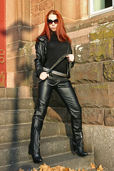Cora 07 (The Booted Cat) Tags: red sexy girl leather hair model pants whip tight mistress dominatrix