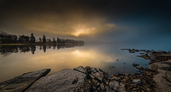 First light (Explored) (Tore Thiis Fjeld) Tags: morning trees light sunlight mist lake color reflection nature oslo fog clouds forest outdoors mirror early nikon stones horizon surface d800 14mm samyang maridalsvannet