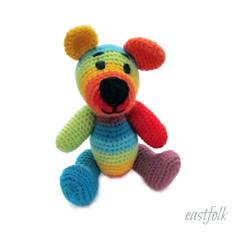 crochet-rainbow-teddy-bear-by-eastfolk (eastfolk) Tags: teddy bear crochet crocheted animals organic soft toy cotton acryl yarns holofiber amigurumi stuffed handmade homemade baby children forest rainbow melange