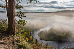 Early in the morning (MatsOnni) Tags: misty fog finland river landscape kuusamo kitkajoki pähkänänkallio