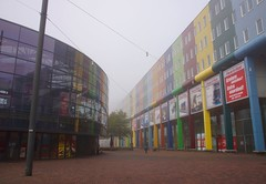 Colourful Building (Sarah Marston) Tags: november reflection netherlands amsterdam fog buildings europe sony alpha 2015 colourfulbuildings a65