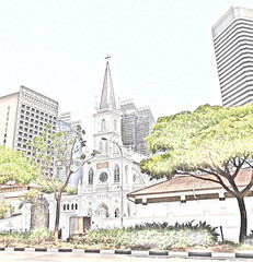 Chijmes - Singapore (boeckli) Tags: building church chijmes sketch singapore outdoor drawing kirche gebäude singapur