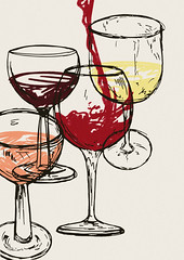 Wine for 4 (minniemorrisart) Tags: drink drinks art artwork fine dining evening wine red white rose illustration drawing design artist arty
