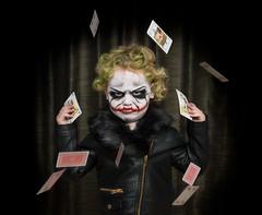 Stacy A.K.A The Joker (Pappa Paparazzi (Johan Ruijgrok)) Tags: nikon netherlands girl portrait people photoshop children joker batman westcott speedlight cards child composite