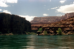 35-103 (ndpa / s. lundeen, archivist) Tags: nick dewolf nickdewolf color photographbynickdewolf 1970s 1973 1972 film 35mm 35 reel35 arizona northernarizona southwesternunitedstates canyon marblecanyon grandcanyon coloradoriver raftingtrip raftingexpedition rafting river riverrafting water landscape canyonwalls sky bluesky clouds