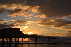 Sunset over the pier as the early season's starlings begin to gather... (karen leah) Tags: sunset dusk aberystwyth starling