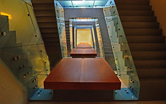 EMORY WINSHIP STAIRCASE (Wolf Creek Carl) Tags: stairs architecture indoors geometric perspective stairwell