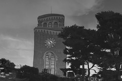 Winky Clock Tower (seiji2012) Tags: bw clock distortion tower reflection