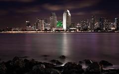 San Diego (Hejemoni (@fbauzonx on Instagram)) Tags: sandiego california westcoast longexposure waterscape cityscape landscape rocks water sky clouds colors green purple wideangle 17mm
